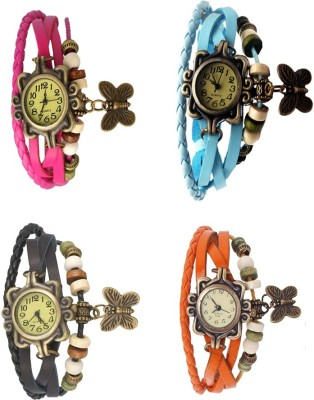 NS18 Vintage Butterfly Rakhi Combo of 4 Pink, Black, Sky Blue And Orange Watch  - For Women
