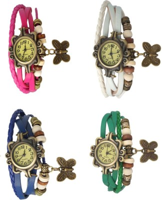 NS18 Vintage Butterfly Rakhi Combo of 4 Pink, Blue, White And Green Watch - For Women