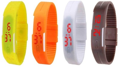 NS18 Silicone Led Magnet Band Combo of 4 Yellow, Orange, White And Brown Watch  - For Boys & Girls