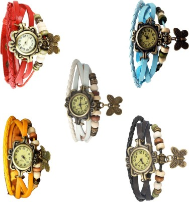 NS18 Vintage Butterfly Rakhi Combo of 4 Yellow, White, Black And Sky Blue Watch  - For Women