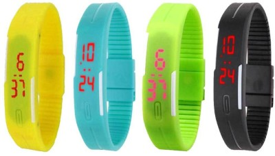 Kissu Led Magnet Band Combo of 4 Yellow, Sky Blue, Green And Black Watch  - For Men & Women