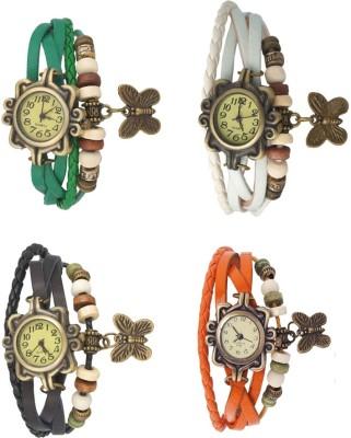 Kissu Vintage Rakhi Combo of 4 White, Green, Black And Orange Watch  - For Women