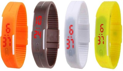 NS18 Silicone Led Magnet Band Combo of 4 Yellow, Brown, Orange And White Watch  - For Boys & Girls
