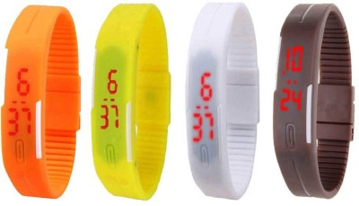 NS18 Silicone Led Magnet Band Combo of 4 Orange, Yellow, White And Brown Watch  - For Boys & Girls