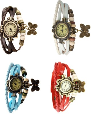 NS18 Vintage Butterfly Rakhi Combo of 4 Red, White, Sky Blue And Brown Watch  - For Women