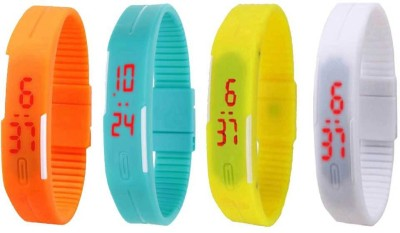 NS18 Silicone Led Magnet Band Combo of 4 Orange, Sky Blue, Yellow And White Watch  - For Boys & Girls