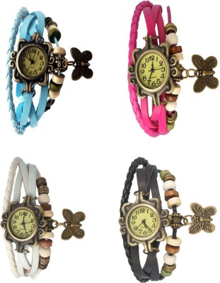 NS18 Vintage Butterfly Rakhi Combo of 4 Sky Blue, White, Pink And Black Watch  - For Women