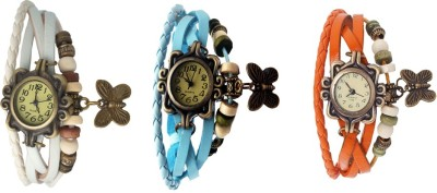 Kissu Vintage Rakhi Watch Combo of 3 Orange, White And Blue Watch  - For Women