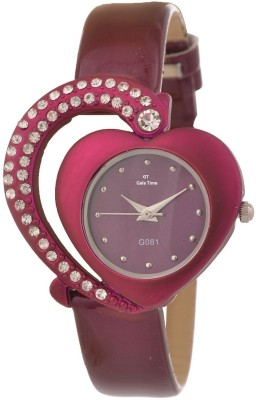 GT Gala Time Pink Leather Heart Shape Diamond Studded Watch  - For Women