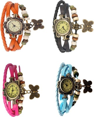 NS18 Vintage Butterfly Rakhi Combo of 4 Sky Blue, Black, Orange And Pink Watch  - For Women