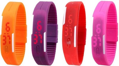 NS18 Silicone Led Magnet Band Watch Combo of 4 Orange, Purple, Red And Pink Watch  - For Couple