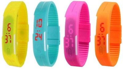NS18 Silicone Led Magnet Band Combo of 4 Yellow, Sky Blue, Pink And Orange Watch  - For Boys & Girls