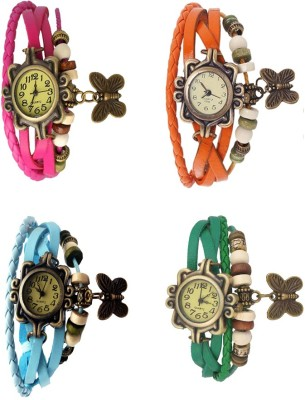 NS18 Vintage Butterfly Rakhi Combo of 4 Pink, Orange, Sky Blue And Green Watch  - For Women