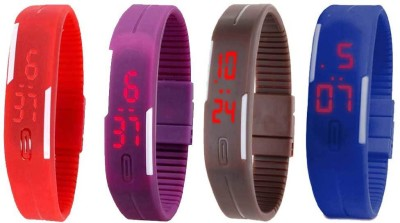 Kissu Led Magnet Band Combo of 4 Red, Purple, Brown And Blue Watch  - For Men & Women