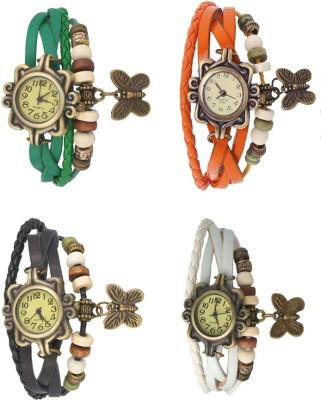 Kissu Vintage Rakhi Combo of 4 Green, Black, Orange And White Watch  - For Women