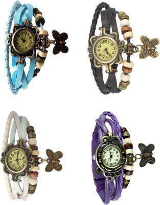 NS18 Vintage Butterfly Rakhi Combo of 4 Purple, Black, Sky Blue And White Watch  - For Women