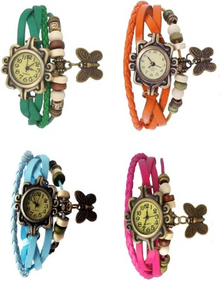NS18 Vintage Butterfly Rakhi Combo of 4 Green, Sky Blue, Orange And Pink Watch  - For Women