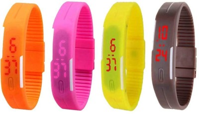 NS18 Silicone Led Magnet Band Combo of 4 Orange, Pink, Yellow And Brown Watch  - For Boys & Girls