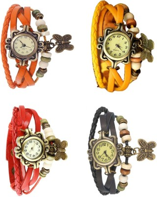 NS18 Vintage Butterfly Rakhi Combo of 4 Orange, Red, Yellow And Black Watch  - For Women