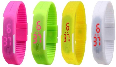 Kissu Led Magnet Band Combo of 4 Pink, Green, Yellow And White Watch - For Men & Women