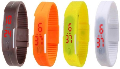NS18 Silicone Led Magnet Band Combo of 4 Brown, Orange, Yellow And White Watch  - For Boys & Girls