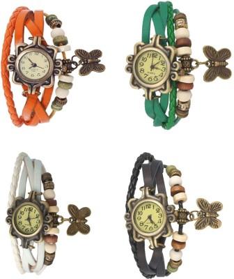 Kissu Vintage Rakhi Combo of 4 Orange, White, Green And Black Watch  - For Women