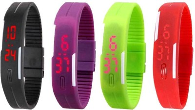 Kissu Led Magnet Band Combo of 4 Black, Purple, Green And Red Watch  - For Men & Women
