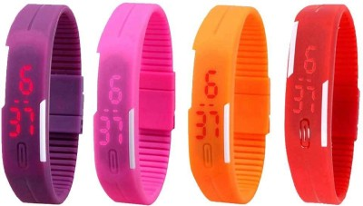 NS18 Silicone Led Magnet Band Watch Combo of 4 Purple, Pink, Orange And Red Watch  - For Couple