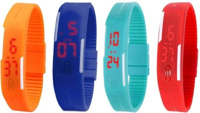 NS18 Silicone Led Magnet Band Watch Combo of 4 Orange, Blue, Sky Blue And Red Watch  - For Couple