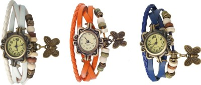 Kissu Vintage Rakhi Watch Combo of 3 White, Orange And Blue Watch  - For Women