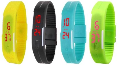 Kissu Led Magnet Band Combo of 4 Blue, Black, Yellow And Green Watch  - For Men & Women