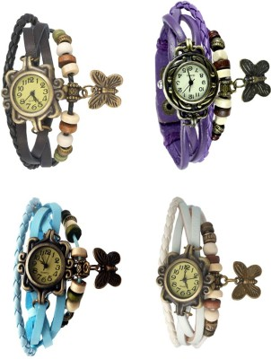 NS18 Vintage Butterfly Rakhi Combo of 4 Black, Sky Blue, Purple And White Watch  - For Women