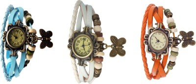 Kissu Vintage Rakhi Watch Combo of 3 Orange, White And Sky Blue Watch  - For Women