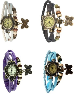 NS18 Vintage Butterfly Rakhi Combo of 4 Purple, White, Black And Sky Blue Watch  - For Women