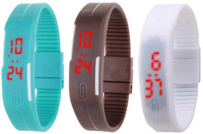 NS18 Silicone Led Magnet Band Combo of 3 Sky Blue, Brown And White Watch  - For Boys & Girls