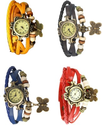 NS18 Vintage Butterfly Rakhi Combo of 4 Yellow, Black, Red And Blue Watch  - For Women