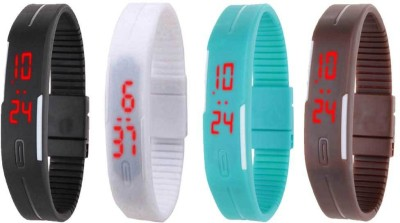 NS18 Silicone Led Magnet Band Combo of 4 Black, White, Sky Blue And Brown Watch  - For Boys & Girls
