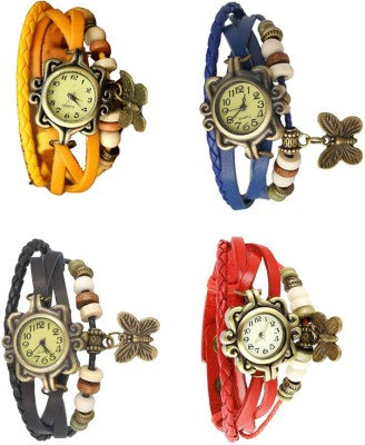 NS18 Vintage Butterfly Rakhi Combo of 4 Yellow, Black, Blue And Red Watch  - For Women