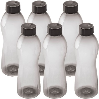 Cello Twisty 1000 ml Water Bottles(Set of 6, Black)