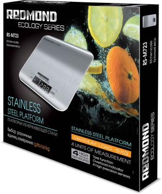Redmond RS-M723, <5kg, accuracy 1g (grams, milliliters, pounds, ounces) Kitchen Weighing Scale(Grey)