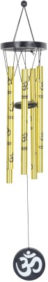 Varanasi Enterprises Feng shui metal wind chime 5 golden pipes with Om for positive energy large Iron Windchime(10 inch, Multicolor)  available at flipkart for Rs.249