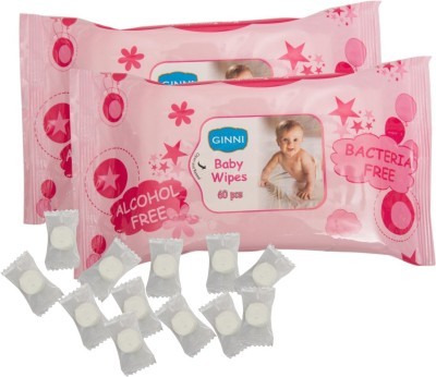 Ginni GINNI Soft Baby Wipe  pack of 2   60 wipes per pack  with Coin Tissue  50 pieces in candy pack  3 Wipes Ginni Baby Wipes