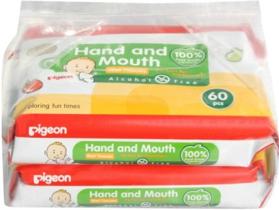 Pigeon Face and Hand Wipes   60 Sheets Twin Pack 60 Wipes Pigeon Baby Wipes