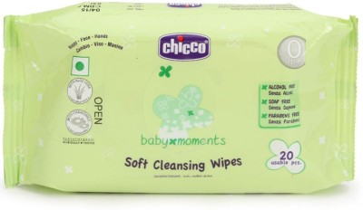 Chicco Baby Moments Soft Cleansing Wipes - 20 Pieces  available at flipkart for Rs.62