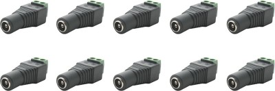 MX S-019 DC Plug Female Connector for CCTV Camera Cable dvr Wire Connector(Black, Silver, Pack of 10)  available at flipkart for Rs.299