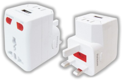 MX Travel Adaptor With Usb Charger, Indicator   Fuse Worldwide Adaptor White MX Laptop Accessories