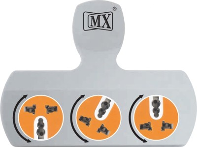 MX 3 Pin 3 Way Strip With Rotatable Sockets Worldwide Adaptor(Multicolor)
