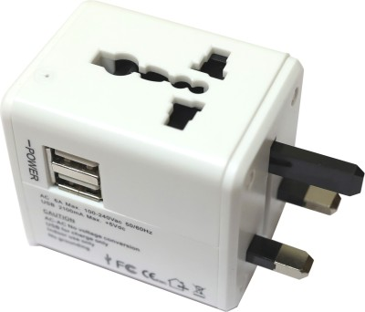 LEOTECH UNIVERSAL TRAVEL ADAPTOR WITH USB WHITE Worldwide Adaptor White LEOTECH Laptop Accessories