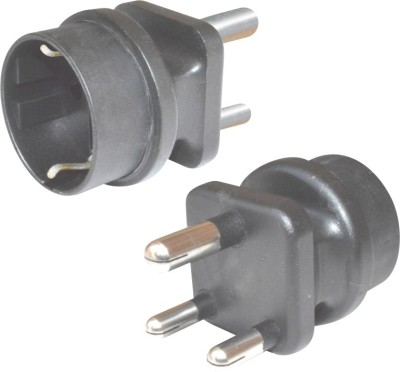 MX Indian Plug to Europe Schuko Socket - 5 Amp Worldwide Adaptor(Black)