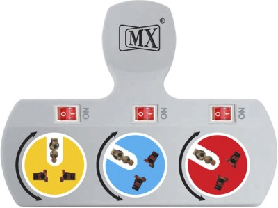 MX 3 Way 3 Way Strip Rotatable Sockets & Individual Switch Worldwide Adaptor(Multicolor)